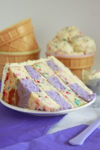Checkerboard Cake with Cake Batter Frosting
